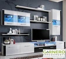 Parete attrezzata soggiorno SANTA CRUZ bianco/nero spaziosa, moderna, minimale