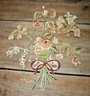 Antique Victorian embroidered Silk Flowers French Remnant Textile Fragments