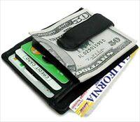 BLACK LEATHER Men's BADGE MONEY CLIP Credit ID Wallet Holder Front Pocket Thin