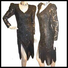 Vtg 80s DRAMATIC Sequins LACE Black FRINGE Dress S