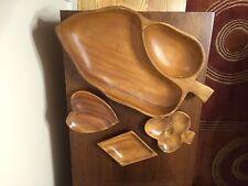 (4) Vintage Genuine Monkey Pod Wood Bowls Lot Hawaii Leaf, Diamond,Club & Heart