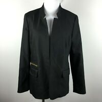 Chicos Size 1 Blazer Jacket Black Open Front Pockets Lined Notch Collar