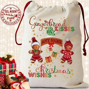Gingerbread Man Personalised Christmas Eve Sack Stocking Boys Girls Kids Gift