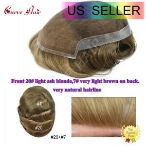 French Lace Front Men Toupee Hairpiece Light Ash Blonde Brown Human Hair System