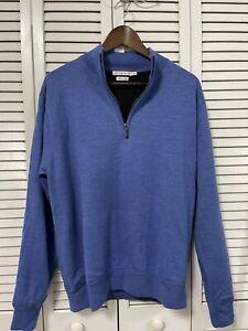 Peter Millar 100% Merino Wool Mens 1/4 Zip Pullover Sweater Blue Size Medium