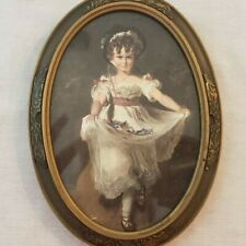 Antique Print Young Girl White Dress Victorian Oval Frame Wood Embossed Metal