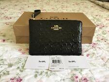Authentic Coach Debossed Patent Leather Black Corner Zip Wristlet F58034