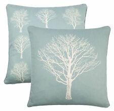 "FOREST TREES DUCK EGG BLUE WHITE 100% COTTON PIPED CUSHION COVER 17"" - 43CM"