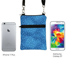 Blue Travel Crossbody Floral iPhone 7 Plus Purse Sling Bags - tiny blue flowers