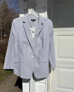 NWT Talbots Classic Blue & White Striped Seersucker Lined Blazer 22W 3X