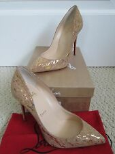 NIB Auth Christian Louboutin Pigalle Follies Nude Cork Gold Pointed Pumps 37 7