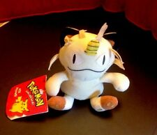 VINTAGE PELUCHE POKEMON-MEOWTH - #52 - 1998 originale Nintendo Beanie Soft Toy -