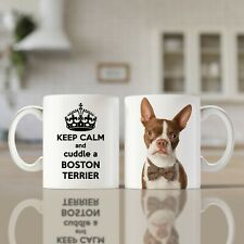 More details for keep calm boston terrier red | white 11oz | a great gift for any dog lover!