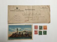 Lot of 6 Old Cuba stamps, Postcard, and Cover sent to USA.