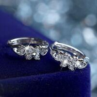 18k white gold gf made with SWAROVSKI crystal flower stud huggie earrings SMALL
