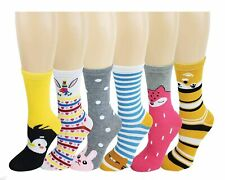 6 Pairs Novelty Design Crew Socks, Christmas Holidays Crazy Fun Colorful Fancy D