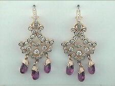 Diamond & Pink Tourmoline Chandelier Earrings 18k WG with 1.37ct Diamonds