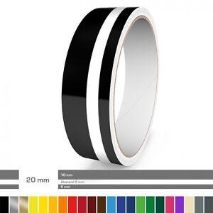 Doppel-Zierstreifen 20 mm ver. Farben für Auto, Motorrad, Wohnmobil, Modellbau