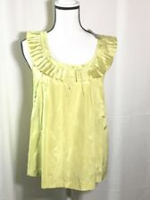 Woman's KANAR Green Ruffle Neck Silk Blend Top Blouse Size Large New
