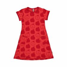 Maxomorra Organic Cotton Baby Girl Red Apple Short Sleeved Dress 6 9 12 18 12-18 Months