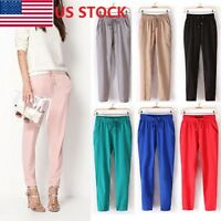 US Women Casual Harem Pants Drawstring Elastic Waist Chiffon Loose Trousers JP