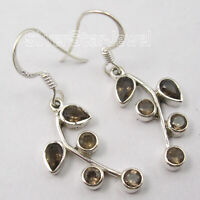 925 Solid Silver Natural Drop, Round Facetted Smoky Quartz Dangle Earrings