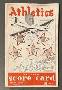 1941 Philadelphia Athletics Vs Cleveland Indians Program Scorecard w/ News Clip