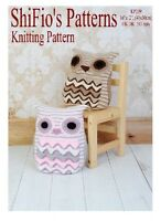 KNITTING PATTERN for OWL CUSHION COVER PYJAMA CASE #239 NOT CLOTHES