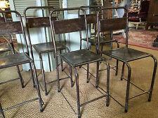 chaise d'atelier vintage ancienne en fer et tôle brossé et verni (série)