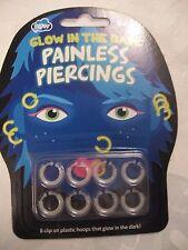 NPW Painless Piercings Glow In The Dark Pk 8 Pretend Clip On Piercings Age 6+