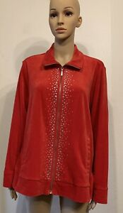 Ruby Rd. red velour long sleeve zip-up ebellished track jacket plus size 1X