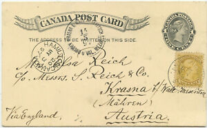 Kanada GA ZuF Postkarte Niagara Falls Krasna Österreich 1897