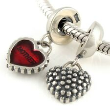 Red MOTHER & DAUGHTER Heart- Solid 925 sterling silver charm bead/ Pendant-Pair
