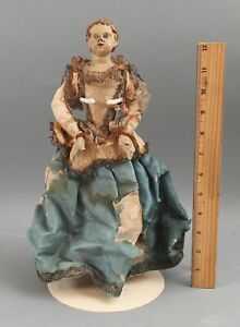 RARE 18thC Antique Jointed Wood Arms & Terracotta Head & Hands Santos Doll