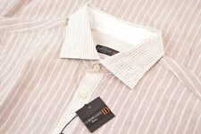 NWT Corneliani Size 17.5 44 Tan White Brown Dress Casual Shirt Brand New Italy