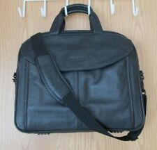 Dell Laptop Carrying Case Black Leather Briefcase Traveling Office