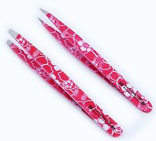 Macs Professional Brand Pink Flower 2 Pack Of Eye Brow/Plucking Tweezers-07-1003