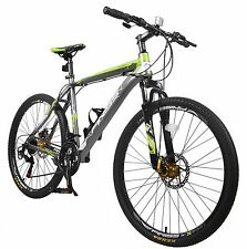 "Merax Finiss 26"" Aluminum 21 Speed Mountain Bike with Disc Brakes Gray&Green"