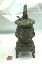 Vintage Miniature Cast Iron Stove Zinc ? Wood Burning Salesman Sample Potbelly