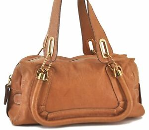Authentic Chloe Paraty Leather Shoulder Hand Bag Brown C3245