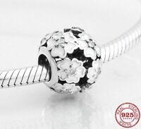 Charms Anhänger Echt Silber 925 Weiß Blume Zirkon Perlen Charms für Armband Neu.