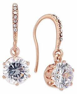 Charter Club Rose Gold-Tone Cubic Zirconia Drop Earrings