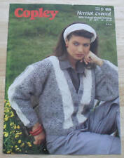 VINTAGE COPLEY No D859 LADIES GREY AND CREAM CABLE CARDIGAN D.K KNITTING PATTERN