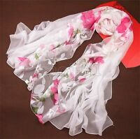 New Women's Fashion Long Soft White Floral 100% Silk Scarf Wrap Shawl Scarves