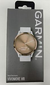 Garmin Vivomove HR Sport Hybrid Smartwatch White Silicone Band - Rose Gold New