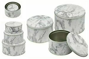 Set of 3 Round Cake Biscuit Storage Tins Large Medium Small Grey Marble Design