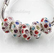 50PCS   Beads Perlen Runde Rhinestone Mehrfarben Spacer Perlen Armbänder 151136