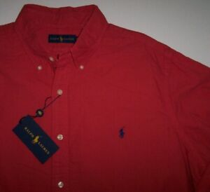 NWT Ralph Lauren CACTUS FLOWER RED Garment-Dyed Oxford Shirt XLT NAVY Polo Pony