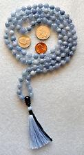 Hand Knotted Aquamarine Buddhist Mala Prayer Bead -Psychism Purification Allergy