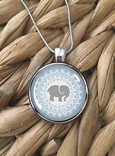 Beautiful Elephant Mandala Blue White Glass Pendant Silver Chain Necklace NEW